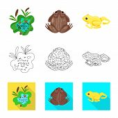Isolated Object Of Wildlife And Bog Icon. Set Of Wildlife And Reptile Vector Icon For Stock. poster