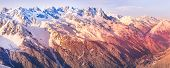 Chamonix Mont-blanc French Ski Resort Town Sunset Aerial View, France, French Alps Mountains Banner  poster