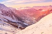Chamonix Mont-blanc French Ski Resort Town Sunset Aerial View, France, French Alps Mountains Panoram poster