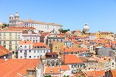 Постер, плакат: Alfama View Lisbon Roofs Monastery Sao Vicente Church Santa Engr