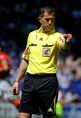 BARCELONA - APRIL 15: Referee Iglesias Villanueva during during a Spanish League match between RCD E