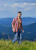 Power Of Nature. Man Unbuttoned Shirt Stand Top Mountain Landscape Background. Muscular Tourist Walk poster