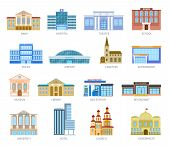 Government Flat Houses. Bank Hospital School University Airport Police Library Church. Municipal Cit poster