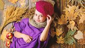 Fashion Kid Girl Wear Knitted Hat Beret And Scarf. Autumn Fashion Accessories Concept. Fashion Trend poster