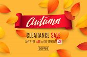 Seasonal Sale Banner With Falling 3d Colored Leaves, Text Autumn And Red Realistic Ribbon On Orange  poster