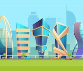 Future Metropolis City Skyline Building Cartoon Vector Illustration poster