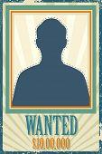 ilustração de wanted poster retro com espaço para foto