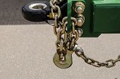 Transport Anti-theft Chain With Padlock Security Lock Close Up On Rear Wheel, Protection Against The poster