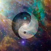 Yin Yang Celestial. Vivid space. 3D rendering poster