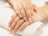 Woman gets manicure procedure in a spa salon. Beautiful female hands. Hand care. Woman cares for th poster