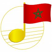 Morocco Flag And Musical Note. Music Background. National Flag Of Morocco And Music Festival Concept poster