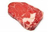 Rib Eye Steak Isolated On A White Studio Background.