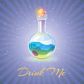 Bottle With Potion Or Health Elexir Vector Illustration. Sparkling Magic Elixir. Magic Drink Me, Int poster
