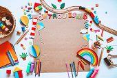 Kindergarten Or Preschool Background. Art Child Frame With Empty Paper. poster