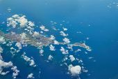 Flying over Anguilla in the Caribbean Sea, a British Overseas Territory in the Lesser Aatilles poster
