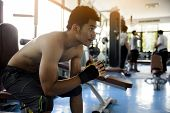 At Gym,sport Asian Man Feeling Tired, Depressed,about Unsuccessful Excercise,workout In Gymnasium.ad poster