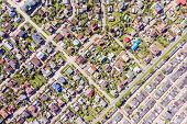 Aerial View Of A Suburban Residential Neighborhood On A Sunny Summer Day poster