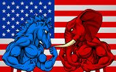 A Blue Donkey And Red Elephant Fighting In Front Of An American Flag Background. American Politics E poster