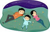 Illustration of a Family Stargazing