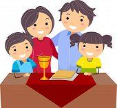 Illustration of a Family Celebrating Passover
