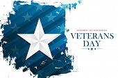 United States Veterans Day Celebrate Banner With Silver Star On Brush Stroke Background. Usa Nationa poster