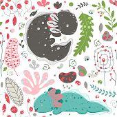 Cute Kawaii Axolotl, Baby Amphibian Drawing. Cute Animal Drawing, Funny Cartoon Illustration. Floral poster