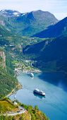 Fjord Geirangerfjord With Ferry Boat, View From Ornesvingen Viewing Point, Norway. Travel Destinatio poster