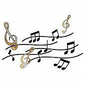 Treble Clef And Music Note On White Background poster