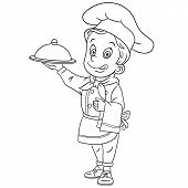 Colouring Page. Cute Cartoon Chef, Chief Cook Serving A Dish. Childish Design For Kids Coloring Book poster