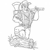 Colouring Page. Cute Cartoon Lumberjack, Strong Brutal Man Holding Axe. Childish Design For Kids Col poster
