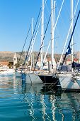 Summer Morning In The Harbor. Yachts Parking In Harbor, Harbor In Trogir, Croatia. Sailboats Reflect poster