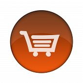 Glossy Shopping Cart 3D Web Button (Clicked)
