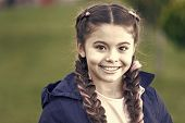 Happy Child Outdoor. Nature Landscape. Parks And Outdoor. Little Girl With Trendy Hairstyle. Autumn  poster