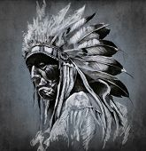 Tattoo art, portrait of american indian head over dark background