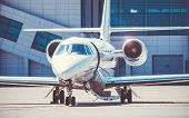 Luxury And Shiny Business Jet Standing At The Airport. Luxury Lifestyle And Transportation By Own Ai poster