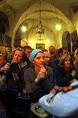 JERUSALEM - APRIL 18: Pilgrims come to Holy Sepulchre for Holy Fire (Holy Light) miracle ceremony on