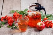 Hot Tea From Rosehip Berries And Fruit In Transparent Glasses And Honey On A Wooden Table. Harvestin poster