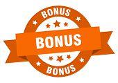 Bonus Ribbon. Bonus Round Orange Sign. Bonus poster