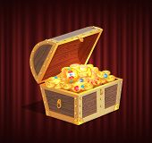 Open Dower Chest With Diamonds, Gold And Silver Coins. 3d View Of Box With Lock And Precious Sign, B poster