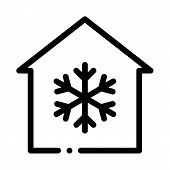 Building And Snowflake Cooling Equipment Vector Icon Thin Line. Cool And Humidity, Airing, Ionisatio poster