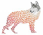 A Cartoon Wolf. Stylized Wolf. Vector Illustration Of A Wild Animal. Forest Predator. Tattoo. poster