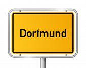 City limit sign DORTMUND against white background - North Rhine Westphalia, Nordrhein Westfalen, Germany