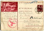 LITHUANIA - CIRCA 19 DEC 1939 - A Postcard printed in Lithuania, posted from Lithuania to Poland during Nazi occupation (Nazi stamp with swastika) - Lithuania, circa 1939