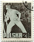 POLAND, CIRCA 1963- Polish cancelled stamp for celebrating 20th anniversary of Warsaw Ghetto Uprising, Poland, 1963