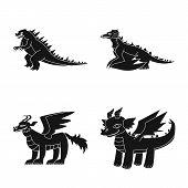 Vector Design Of Dinosaur And History Logo. Set Of Dinosaur And Animal Stock Vector Illustration. poster
