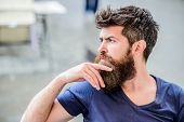 Making Hard Decision. Bearded Man Concentrated Face. Hipster With Beard Thoughtful Expression. Thoug poster