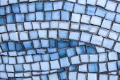 Street Mosaic Pattern Of Gray And Blue Stone. Beautiful Mosaic Pattern Close Up. Blue And Gray Tiled poster