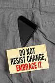Word Writing Text Do Not Resist Change Embrace It. Business Concept For Be Open To Changes Try New T poster