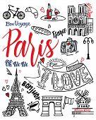 Paris Sketch Illustration. Set Of Hand Drawn French Icons, Paris Sketch Illustration, Doodle Element poster