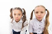 Unhappy Cuties. Unhappy Little Schoolchildren Isolated On White. Adorable Small Girls With Unhappy E poster